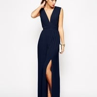 Love Plunge Neck Maxi Dress with Wrap Belt at asos.com