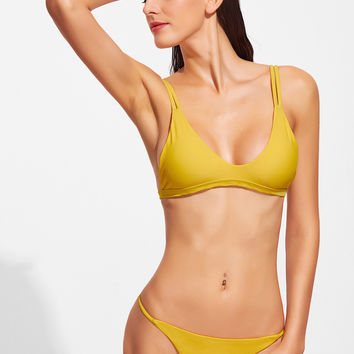 Yellow V-Neck Double Strap Top  Bikini Set