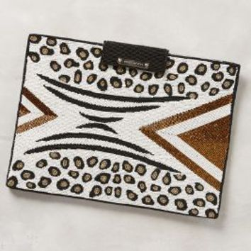 White Moon Itha Beaded Laptop Clutch in Black Motif Size: One Size Clutches