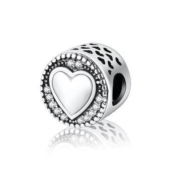 New Arrive Authentic 925 Sterling Silver Charms Pandora Charms Bracelet Heart In Round Factory  Price