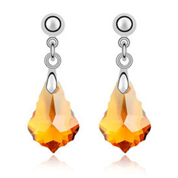 Imported Austrian Crystal Earrings - Baroque leaf export to Europe and America jewelry factory strength    CITRINE