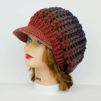 Crochet Visor Hat - Slouchy Cap - Women's Hat - Newsboy Hat - Mixed Brown Hat With Brim - Brimmed Beanie - Visor Beanie - Slouchy Hat