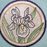 Cowhide Iris Circle Iron On Patch