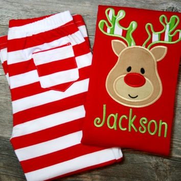 Personalized Boys Reindeer Christmas Pant Set Striped Red White Applique Embroidered Monogrammed