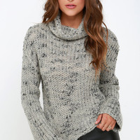 Obey Alexa Black and Grey Cropped Sweater