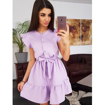 Women Vintage Ruffled Sashes Solid A-line Mini Dress Short Sleeve O Neck Button Party Dress 2019 Summer New Fashion Women Dress