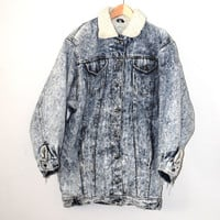 long acid washed denim jacket 80s vintage wool lined winter jean coat large