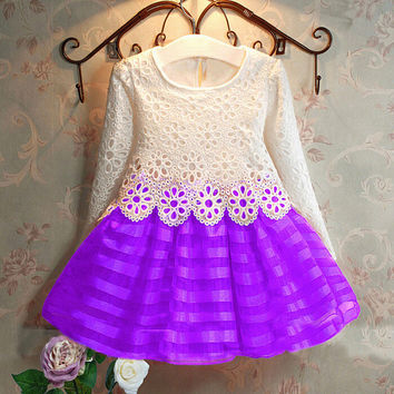 2016 3-7Y Toddler Baby Girls Kids Tutu Crochet Lace Dress Long Sleeve Princess Dress Girls Clothes Autumn Children Wedding Dress