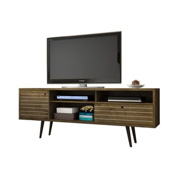 """70.86"""" Mid Century - Modern TV Stand w/ 4 Shelving Spaces & 1 Drawer -Rustic Brown"""