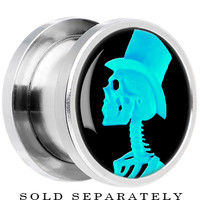 Steel Turquoise Top Hat Skeleton Cameo Screw Fit Plug | Body Candy Body Jewelry