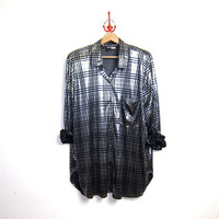 80s oversized liquid silver shirt. wet look top. metallic striped tunic top.