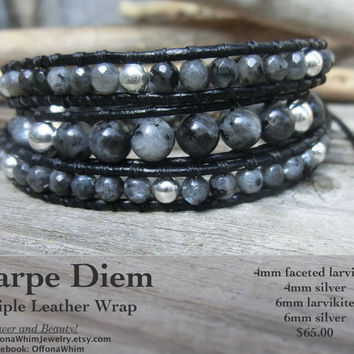 Triple Leather Wrap Larvikite and Silver Powerstone Goth Bracelet - Unisex Black Power Carpe Diem Jewelry