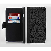 The Dark Gray & Black Paisley Ink-Fuzed Leather Folding Wallet Credit-Card Case for the Apple iPhone 6/6s, 6/6s Plus, 5/5s and 5c