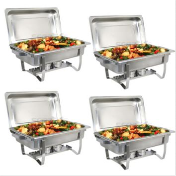 4 pack Catering Stainless Steel Chafing Dish Sets 8 Quart Party