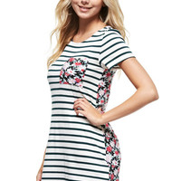 Striped Short Sleeve with Floral Pocket and Back