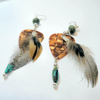 Earrings- Choc-qua -Guitar Pick/ Feathers/ Turquoise/ Jasper- Sale 25%Off OOAK Jewelry