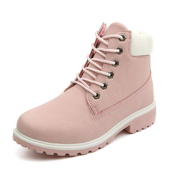 New 2017 Autumn Early Winter Shoes Women Flat Heel Boots Fashion Women's Boots Brand Woman Ankle Botas Hard Outsole ZH813