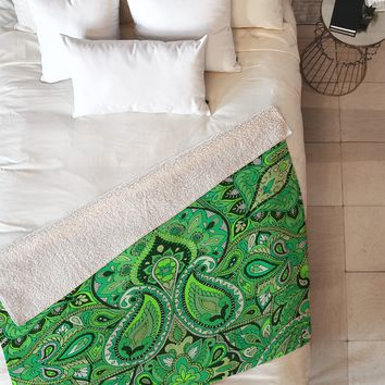 Aimee St Hill Paisley Green Fleece Throw Blanket