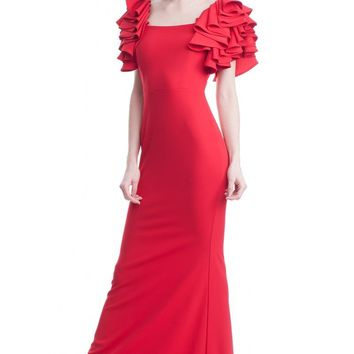 Red Flat Neck Rose Shoulder Sleeve Dress