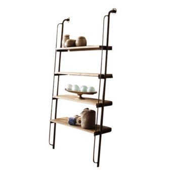 Leaning Metal & Wood Wall Shelf Unit