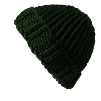 Merino Wool Chunky Knit Hat Forest Green