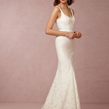 Don's Bridal 2016 Simple Mermaid Wedding Court Train V-neck Modest Sexy Backless Lace Bride Dresses