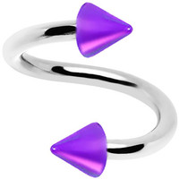 16 Gauge Iridescent Purple Acrylic Cone Spiral Twister | Body Candy Body Jewelry