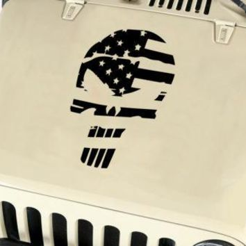 Distressed American Flag Punisher Skull Vinyl Decal