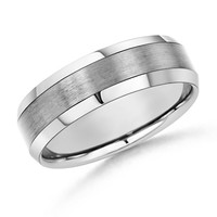 14K White Gold Satin Finish Beveled Edges Men's Wedding Band - WRM_SR0790