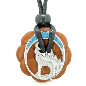 Unique Magic Howling Wolf Moon Amulet Lucky Celtic Donut Red Jasper Spiritual Protection Powers Necklace