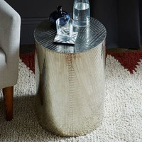 Etched Metal Side Table - Silver