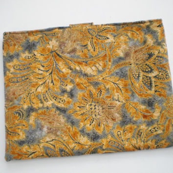 iPad Tablet Sleeve Padded Quilted Soft Case Handcrafted Grey Tan Gold  Mother's Day Graduation Birthday Gift