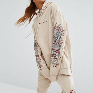 Criminal Damage Oversized Hoodie With Arm Embroidery Co-Ord at asos.com