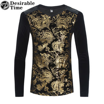 Velvet Men Gold Floral T-Shirt Fashion Slim Fit Casual Patchwork Long Sleeve T Shirt Men