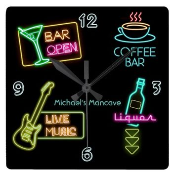 Neon Sign Bar Square Wall Clock