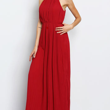 Burgundy  Red Evening Sleeveless Halterneck Pleated Infinity Maxi Dress