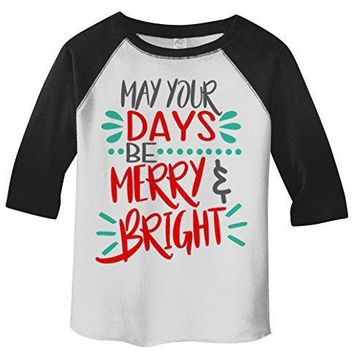 Shirts By Sarah Toddler Days Be Merry Bright Christmas Raglan Cute Boy's Girls T-Shirt