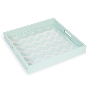 ZIGZIG GRAPHIC wooden tray in blue 35 x 35cm | Maisons du Monde