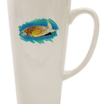 Turtle Watercolor 16 Ounce Conical Latte Coffee Mug