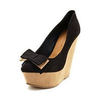 Sueded Bow-Front Pointy-Toe Wedge: Charlotte Russe
