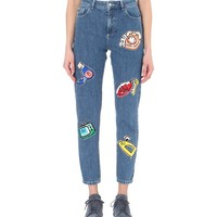AU JOUR LE JOUR - Sequin-embellished slim-fit tapered high-rise jeans | Selfridges.com