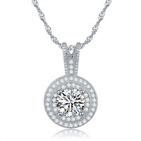 ORSA New Arrival 1.25ct Heats and Arrows Cut 925 Silver Zircon Pendant Necklace for Women ON87