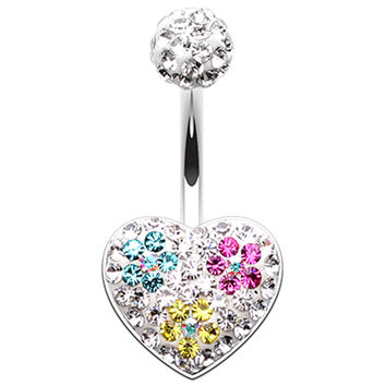 Blossom Crystal Heart Sparkling Belly Button Ring