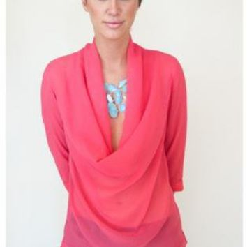 Pink Three-Quarter/Long Sleeve Top - Pink Cowl Neck 3/4 Sleeve | UsTrendy
