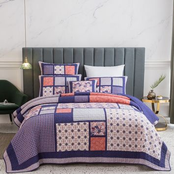DaDa Bedding Patchwork Quilted Bedspread Set, Pink Cherry Blossom Floral Plum Purple - Designed in USA (JHW877)