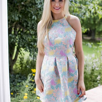 Floral Fit and Flare Dress, Blue Multi