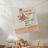 Momma Fox and Baby Watercolor Illustration Baby Blanket