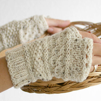 Oatmeal hand knit fingerless glove mittens, fingerless knit gloves,  fingerless knitted gloves, knitted mittens, hand warmer knit glove
