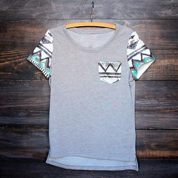 FINAL SALE - it girl aztec sequin pocket short sleeves french terry t shirt grey