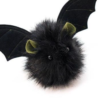 Fang The Vampire Bat Black Fluffy Halloween Plush Stuffed Animal Toy   4x5 Inches Small Size